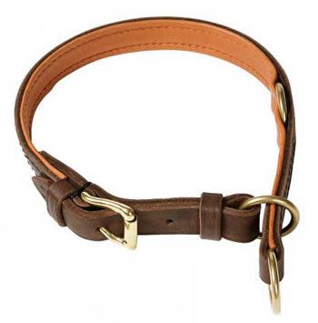 Ошейник-удавка многофункциональный кожаный коричневый